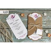 Invitatie de nunta florala cu sfoara 70256 KRISTAL