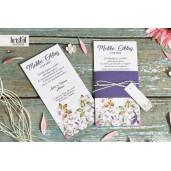 Invitatie de nunta violet florala cu fundita 70264 KRISTAL