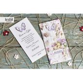 Invitatie de nunta florala cu fluture 70269 KRISTAL