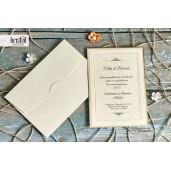 Invitatie de nunta vernil cu chenar auriu 70277 KRISTAL