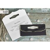 Invitatie de nunta florala tip plic negru si auriu 70283 KRISTAL