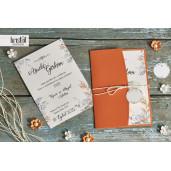 Invitatie de nunta portocalie florala cu fundita 70301 KRISTAL