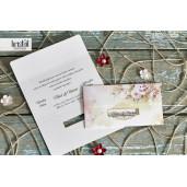 Invitatie de nunta florala cu chenar 9103 EKONOM