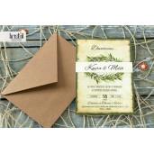Invitatie de nunta vintage ramura de maslin 70307 KRISTAL