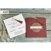 Invitatie de nunta visiniu si auriu cu ciucure 70308 KRISTAL