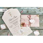 Invitatie de nunta florala cu fundita 70326 KRISTAL
