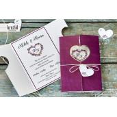 Invitatie de nunta florala marsala cu fundita 70335 KRISTAL