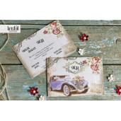 Invitatie de nunta florala masina epoca 70337 KRISTAL