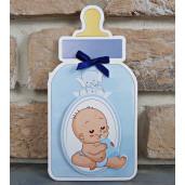 Invitatie de botez biberon albastru 8030 BOTEZ