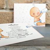 Invitatie de botez glisanta cu bebelus si biberon 8040 SEDEF