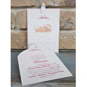 Invitatie de botez glisanta cu bebelus si inimioare 8050 SEDEF