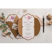 Invitatie de nunta florala cu sfoara 9114 EKONOM