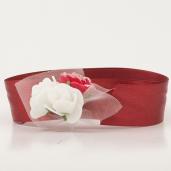 Bratara domnisoara de onoare marsala cu flori albe si visinii 8