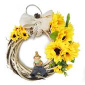 Aranjament Coronita pentru Usa Floarea Soarelui cu Figurina DEC145