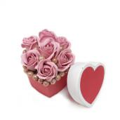 Aranjament Cadou Craciun in Cutie Inimioara cu Flori Parfumate de Sapun DEC154