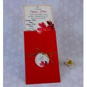 Invitatie de nunta rosie florala 22147 Polen