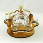 Suport din lemn pentru sticla Minge si 6 pahare ES3454