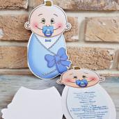 Invitatie de botez bebelus albastru 8024 SEDEF