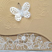Invitatie de nunta aurie florala cu fluture1116 Polen