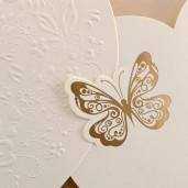 Invitatie de nunta crem aurie cu fluturi 1121 Polen