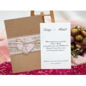 Invitatie de nunta rustica dantelata cu sfoara 187