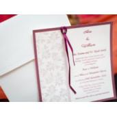 Invitatie de nunta cu model floral si fundita 215