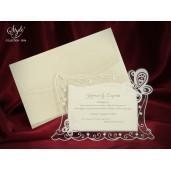 Invitatie de nunta eleganta cu fluturi 3596 SEDEF