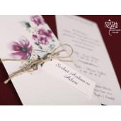 Invitatie de nunta florala cu fundita 70139 KRISTAL