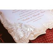 Invitatie florala tip pergament 31328 CLARA