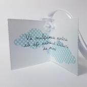 Eticheta - Card dublu perforat alb 73