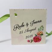Eticheta - Card dublu perforat crem 43