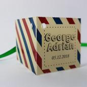 Eticheta - Card dublu perforat crem 74