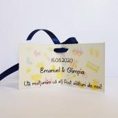 Eticheta - Card dublu perforat crem 83