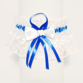 Jartiera mireasa din dantela alba cu panglica albastra inchis 17