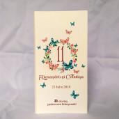 M57 Alb/Crem - Meniu cu coronita flori si fluturi