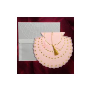 Invitatie de nunta evantai cu calc roz cu stelute aurii 150022 TBZ