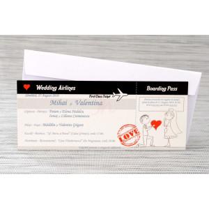 Invitatie de nunta bilet de avion cu miri haiosi 1146 Polen