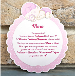 Invitatie de botez fete in forma de floare 8053 SEDEF