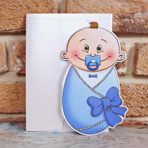 Invitatie de botez bebelus albastru
