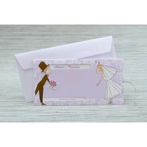Invitatie de nunta cu miri haiosi mov cu buline 1141 Polen