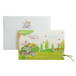 Invitatie de nunta haioasa verde cu miri pe bicicleta140012 TBZ