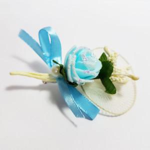 Cocarda cu trandafiri artificiali 03 albastru deschis