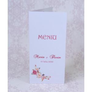 Meniu alb cu trandafiri roz 222717 POLEN