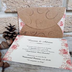 Invitatie de nunta cu model floral 2717 POPULAR