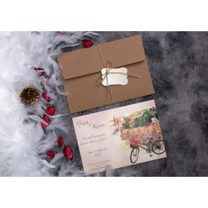 Invitatie de nunta vintage cu bicicleta 63656 ELITE