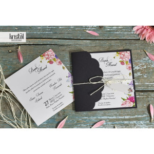 Invitatie de nunta boho cu flori 70298 KRISTAL