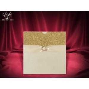Invitatie de nunta eleganta cu auriu 3666 SEDEF