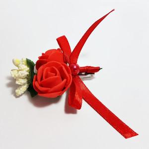 Cocarda cu trandafiri artificiali 03 rosu dublu
