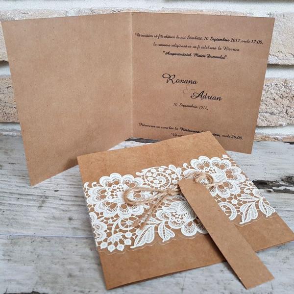 Invitatie de nunta 2666 cu model floral POPULAR