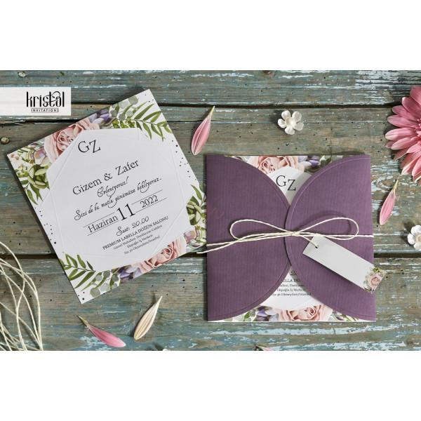 Invitatie de nunta moderna florala mov 70295 KRISTAL